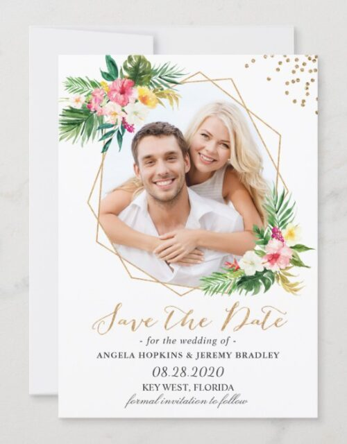 Tropical Flowers Gold Glitters Photo Save the Date