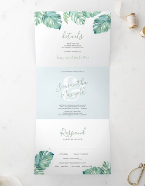 Tropical Greenery Trifold Wedding Invitation