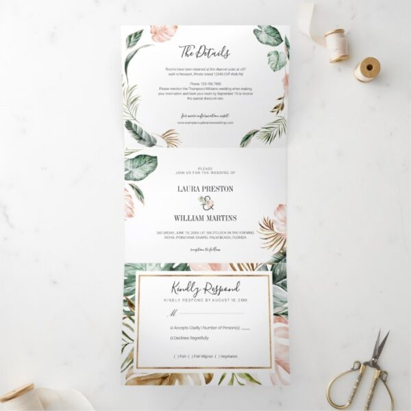 Tropical Leaves Wedding Photo with RSVP Details Tri-Fold Invitation