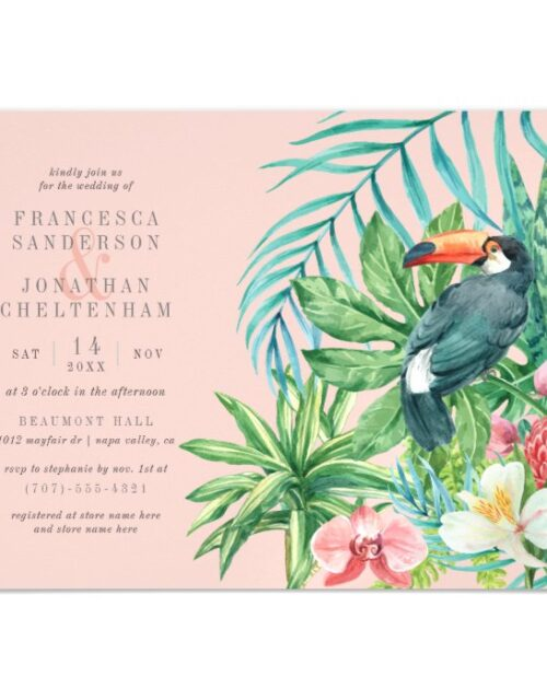 Tropical Toucan, Flowers & Leaves | Wedding Magnetic Invitation