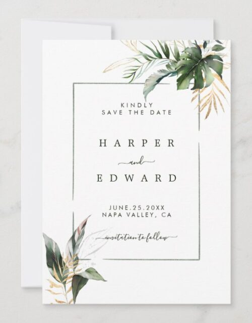 Tropical Watercolor Foliage Green & Gold Wedding Save The Date
