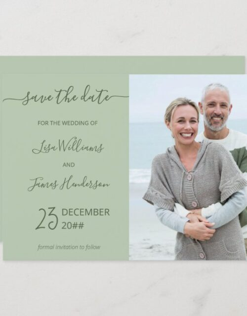 Two-Tone Sage Green Custom Photo Save the Date Invitation
