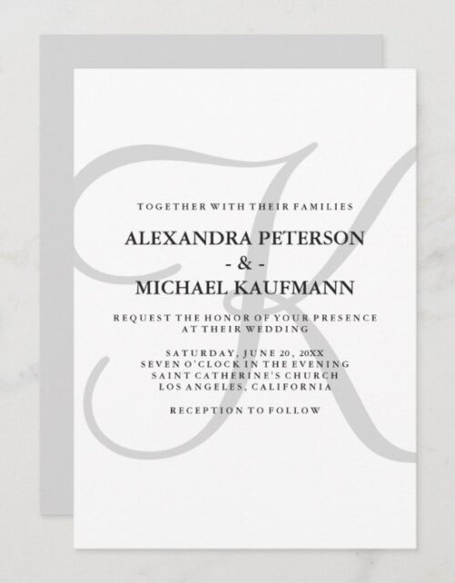 Vertical Modern Classic Monogram in Gray Wedding Invitation