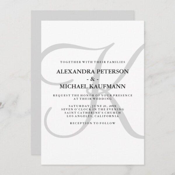 Vertical Modern Classic Monogram in Gray Wedding Invitation