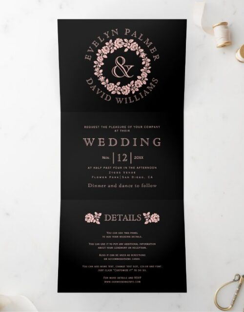 Vintage blush rose wreath black background wedding Tri-Fold invitation