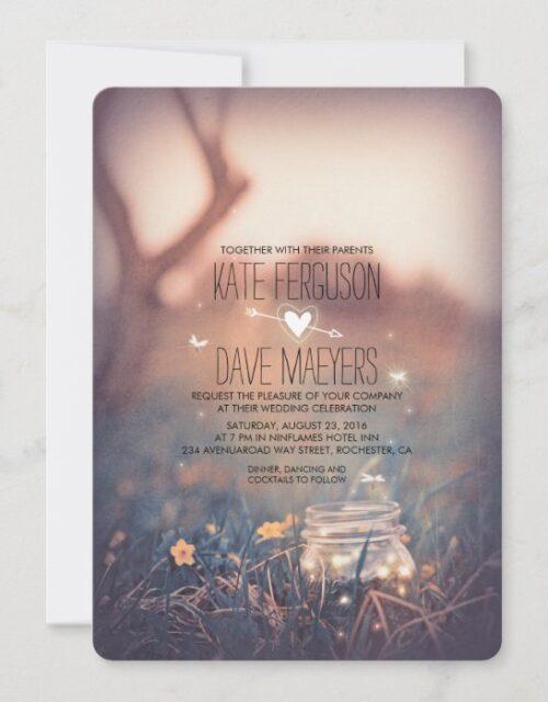 Vintage Garden Rustic Mason Jar Elegant Wedding Invitation