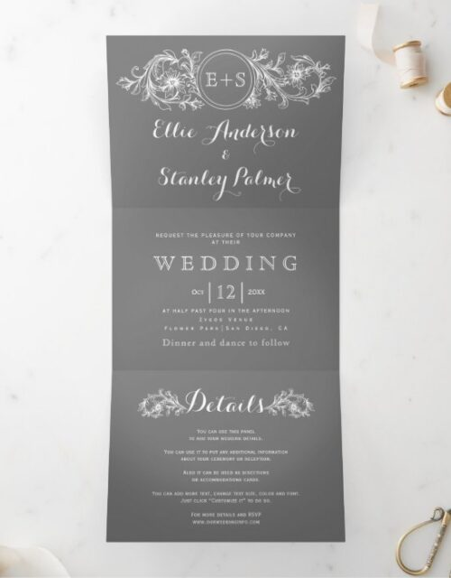 Vintage gray, white floral frame, initials wedding Tri-Fold invitation