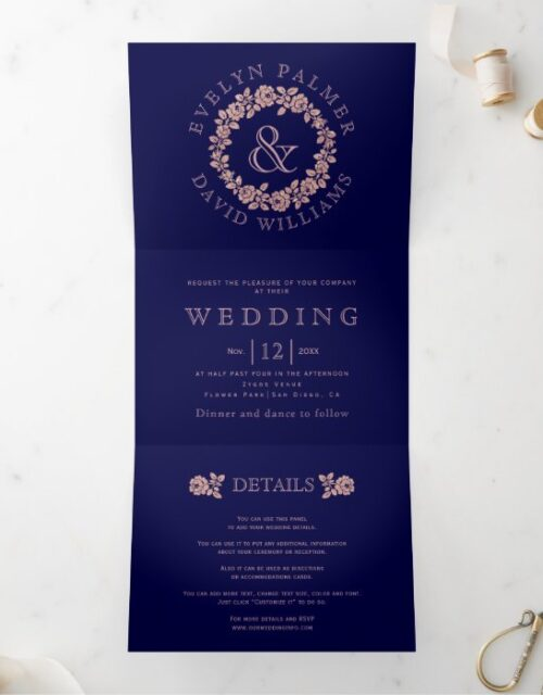 Vintage rose gold rose wreath navy blue wedding Tri-Fold invitation