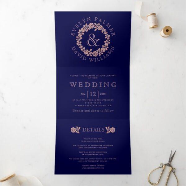 Vintage rose gold rose wreath navy blue wedding Tri-Fold invitation