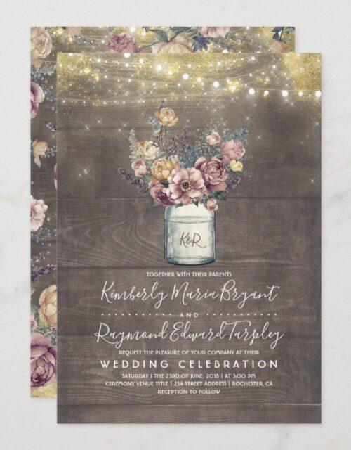 Vintage Rustic Mason Jar Mauve and Gold Wedding Invitation