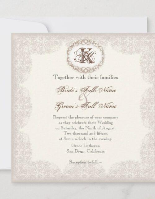 Vintage Taupe Lace - Wedding Invitation
