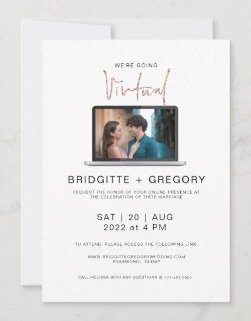 Virtual Online Photo Watercolor Wedding Invitation