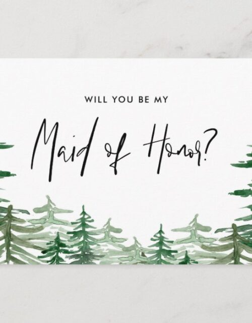 Watercolor Forest Will You Be My Maid of Honor Invitation Postcard