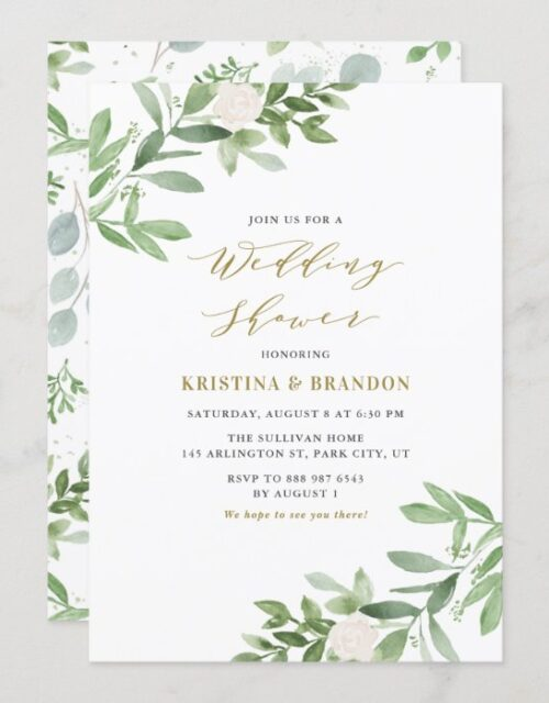 Watercolor Greenery and Flowers Wedding Shower Invitation