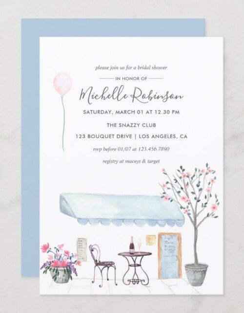 Watercolor Paris themed Bridal Shower invitation