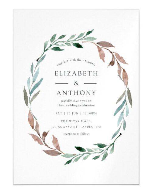Watercolor Rustic Greenery Winter Wedding Magnetic Invitation