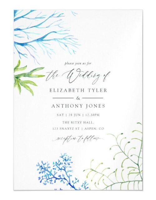 Watercolor Seaweed Beach Themed Wedding Magnetic Invitation