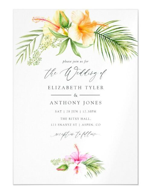 Watercolor Tropical Floral Beach Wedding Magnetic Invitation