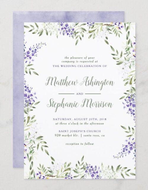 Watercolor Wisteria Wedding Invitation