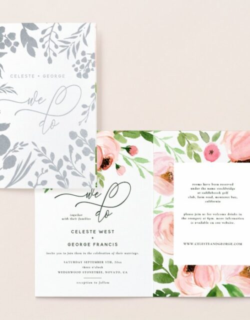 We do floral watercolor and real foil wedding foil card