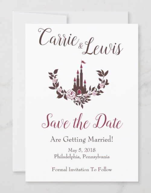 Wedding Cinderella Fairytale Castle Floral Garland Invitation