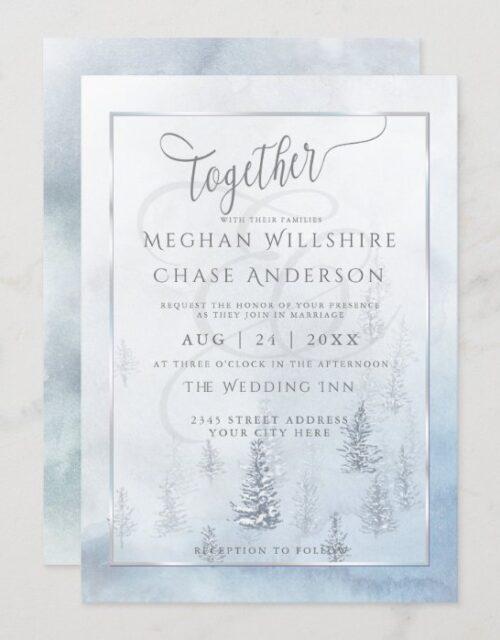 Wedding Invitation | Silver Blue Winter Wonderland