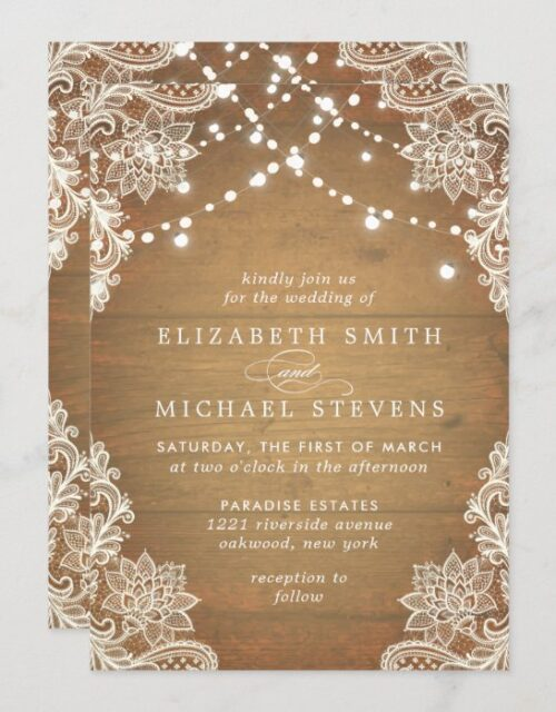 Wedding Lace Floral Rustic Wood White Lights Invitation