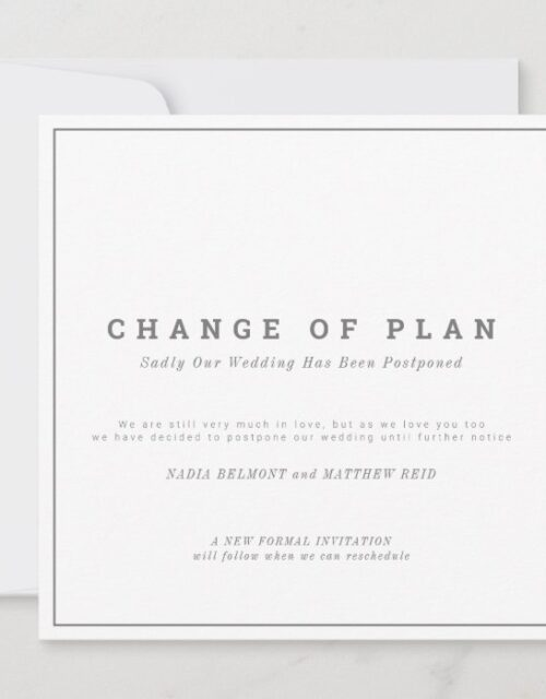 Wedding or event change of plan postponed save the date