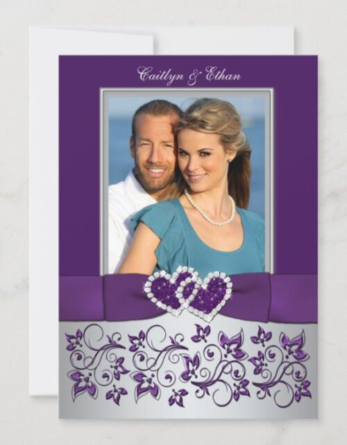 Wedding | Purple, Silver | Floral, Hearts | Photo Invitation