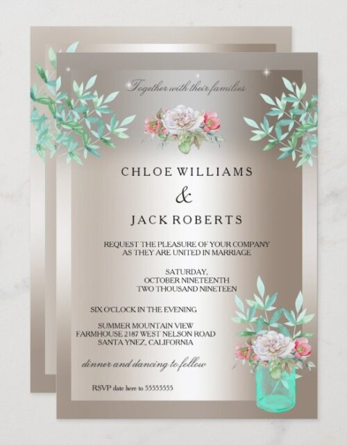 Wedding Sepia Teal Floral Mason Jar Pink Rose Invitation