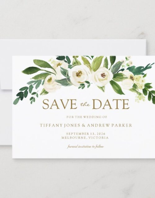 White Blooming Flowers Save The Date Invite