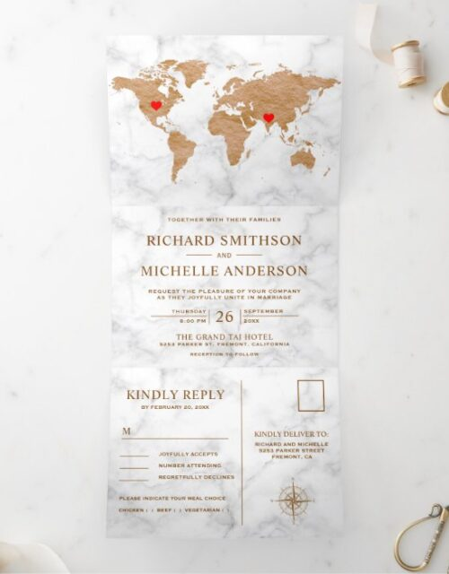 White Marble Bronze World Map All in One Wedding Tri-Fold Invitation
