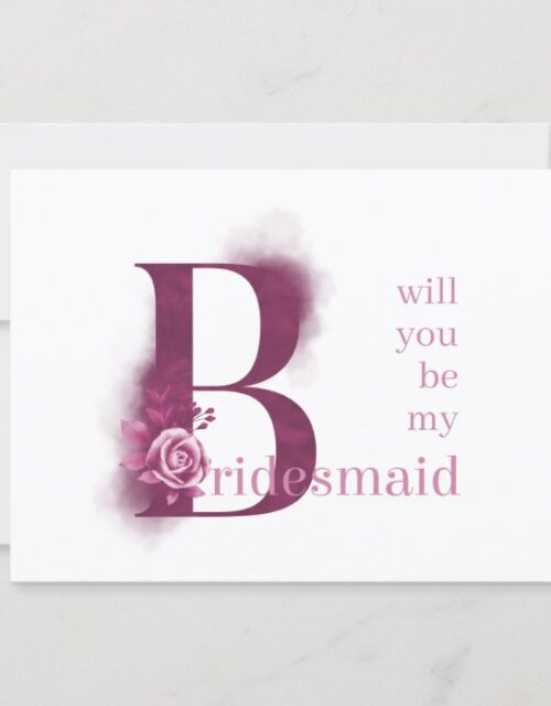 Will you be my Bridesmaid Purple Floral Letter Invitation