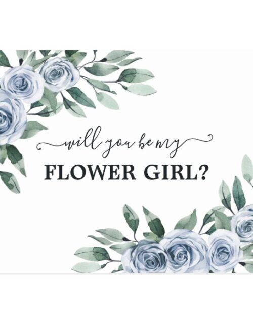 Will You Be My Flower Girl Dusty Blue Rose Floral Postcard