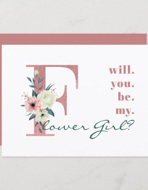 Will you be my Flower Girl Pink Floral Letter Invitation