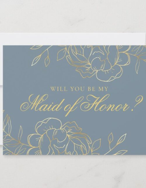 Will you be my Maid of Honor Dusty Blue and Gold Invitation