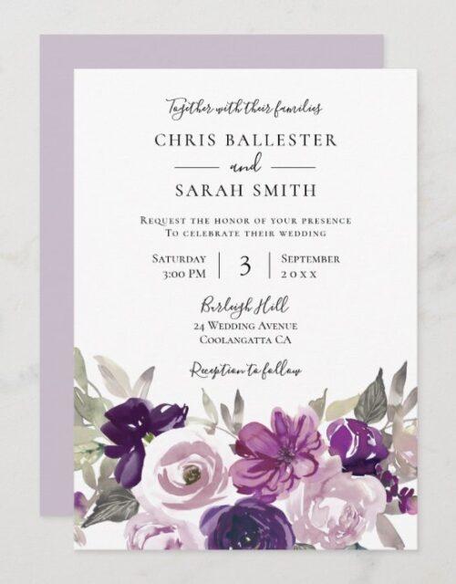 Winter Gray: Purple Lavender Floral Wedding Invitation