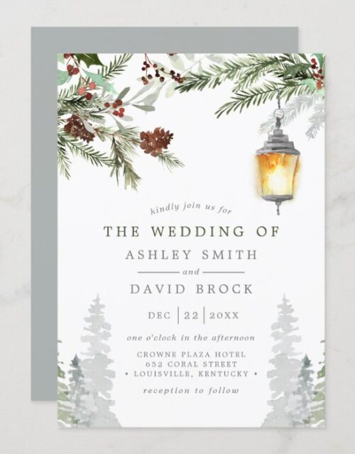 Winter Rustic Pine Trees Botanical Lantern Wedding Invitation