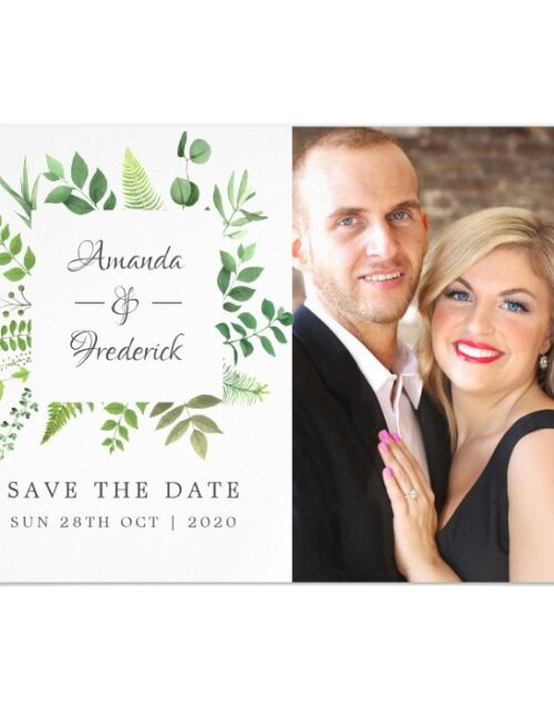 Woodland Forest Greenery Wedding Save the Date Magnetic Invitation