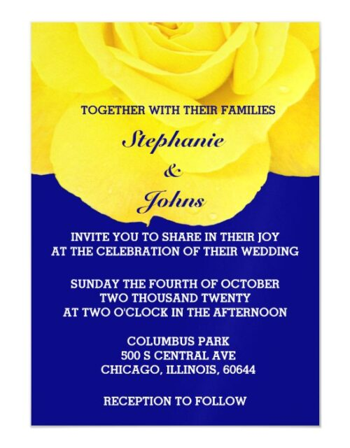 Yellow Rose Navy Blue White Cute Unique Wedding Magnetic Invitation